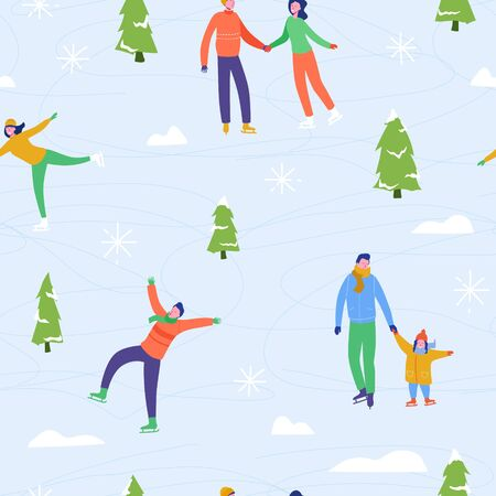 Winter season illustration Background with people characters family ice skating. Christmas and New Year Holiday seamless pattern for design, wrapping paper, invitation, greeting card, poster. Vector Archivio Fotografico - 133681064