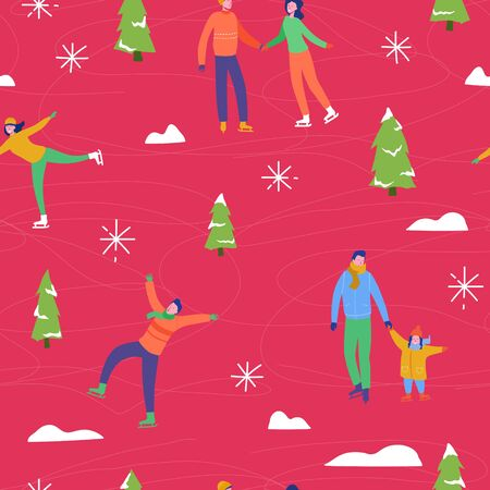 Winter season illustration Background with people characters family ice skating. Christmas and New Year Holiday seamless pattern for design, wrapping paper, invitation, greeting card, poster. Vector Stock fotó - 133681065