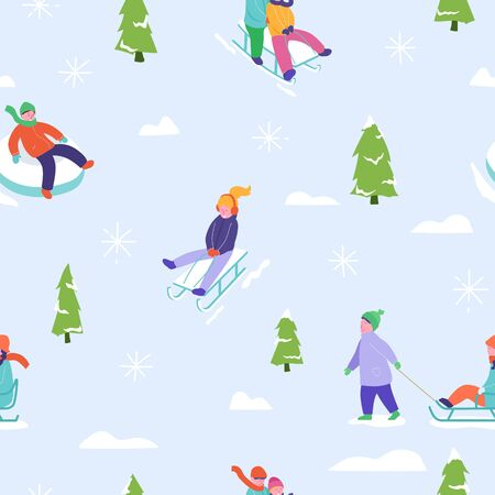 Winter season illustration Background with people character family sledge skating. Christmas and New Year Holiday seamless pattern for design, wrapping paper, invitation, greeting card, poster. Vector Archivio Fotografico - 133681066