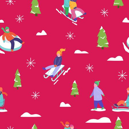 Winter season illustration Background with people character family sledge skating. Christmas and New Year Holiday seamless pattern for design, wrapping paper, invitation, greeting card, poster. Vector Stock fotó - 133681067