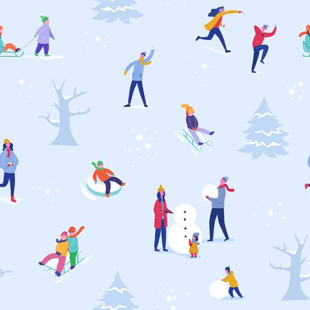 Winter season illustration Background with people skiing, ice skating, sledding. Christmas and New Year Holiday seamless pattern for design, wrapping paper, invitation, greeting card, poster. Vector Archivio Fotografico - 133681068