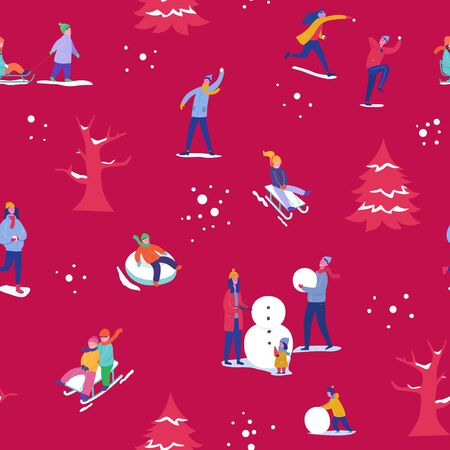 Winter season illustration Background with people skiing, ice skating, sledding. Christmas and New Year Holiday seamless pattern for design, wrapping paper, invitation, greeting card, poster. Vector Stock fotó - 133681069