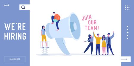 We are Hiring Landing Page Template with Huge Loudspeaker and Business People. Recruitment Agency Interview with Candidates. Human Resources with Megaphone for Website Banner. Vector illustration Illustration