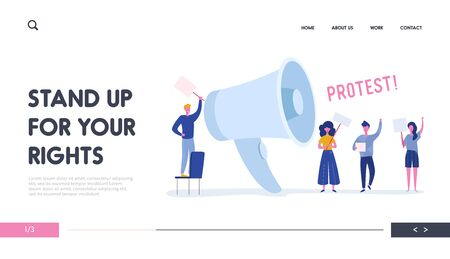 Angry Young People Holding Banners and Placards on Protest Landing Page. Political Meeting or Rally with Huge Loudspeaker. Man and Woman Protesting  on Demonstration for Banner, Website. Vector illustration