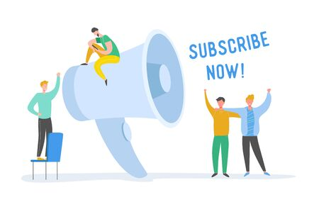 Digital Marketing Refer a Friend Concept. Megaphone Promotion with People. Huge Loudspeaker with Tiny Characters. Social Media Communication. Vector flat cartoon illustration 일러스트