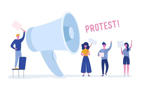 Angry Young People Holding Banners and Placards on Protest. Political Meeting or Rally with Huge Loudspeaker. Man and Woman Protesting  on Demonstration. Vector flat illustration Иллюстрация