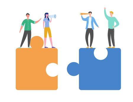 Business Teamwork Concept. Tiny Characters Connecting Puzzle Pieces. Creative Solutions, Collaboration and Partnership with People Working Together. Woman with Megaphone. Vector illustration Illusztráció