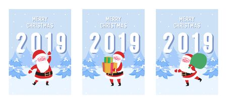 Merry Christmas Postcards Set with Santa Claus. Winter Xmas Holidays Greeting Card Template. Happy New Year Banner with Santa on Winter Snow Landscape with Fir Tree. Vector illustration