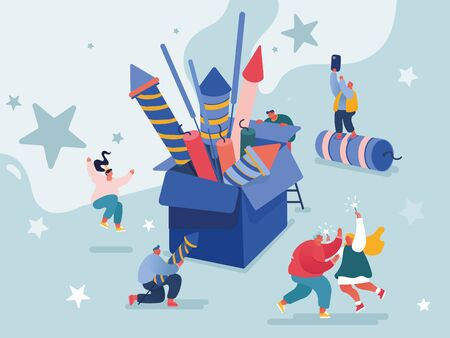 People celebrating New Year or Happy Birthday Party. Men and Women Characters launching and watching explosion of firework rockets, celebrating holidays. Vector concept illustration
