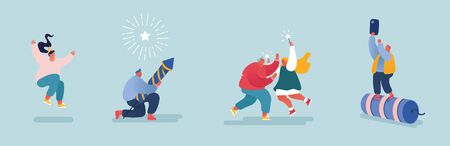 Set of People celebrating New Year or Happy Birthday Party. Men and Women Characters launching and watching explosion of firework rockets, celebrating holidays. Vector illustration