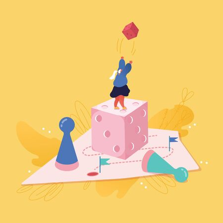 Businesswoman character playing Dice. Business Planning, Risk and Strategy Concept. People woman playing Board game, Success, Competition and Leadership. Vector illustration