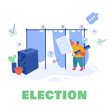 Voting and Election concept template design. Pre-election campaign. Promotion of people candidate characters. Citizens putting paper vote in to the ballot box candidates. Vector illustration Ilustração