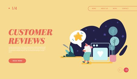 Woman leaving review for web design, banner, landing page. Customer experience and satisfaction, positive feedback, five star rating, product or service review and evaluation. Vector illustration