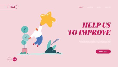 Landing Page, web design, banner with Man leaving review. Customer experience and satisfaction, positive feedback, five star rating, product or service review and evaluation. Vector illustration