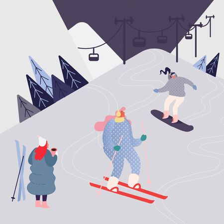 Woman and Man Skiing in the mountains. People character with skis on the snow landscape background. Winter outdoors leisure in resort, extreme sport. Vector illustration Banque d'images - 130615212