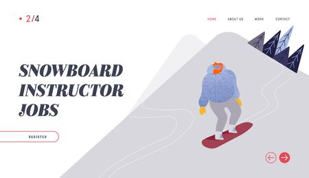 People Snowboarding Website Landing Page. Snowboard Man Rider Character Having Fun and Winter Mountain Sports Activity. Ski Resort Sport Spare Time Web Page Banner. Vector Illustration