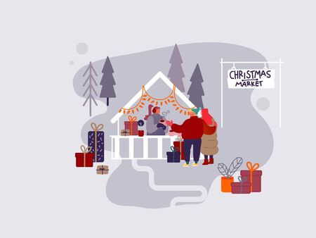People Character shopping on Christmas market or Holiday outdoor fair on town square, New Year Party.  Man and Woman buying presents and gifts, drinking hot coffee. Vector design illustration Stock Illustratie