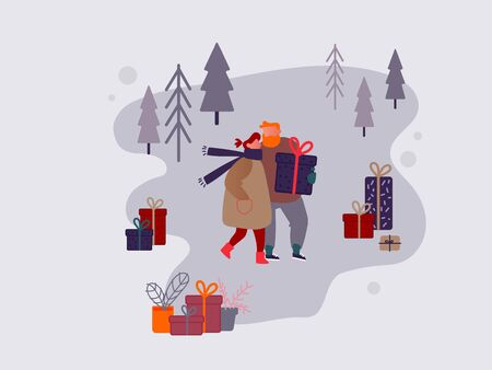 People Character shopping on Christmas market or Holiday outdoor fair on town square, New Year Party.  Man and Woman buying presents and gifts, Festive shop. Vector design illustration