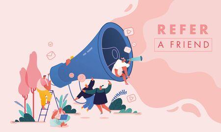 Set di uomini e donne con computer e megafono, personaggi di persone per il concetto di riferimento a un amico. Programma di fidelizzazione del marketing di riferimento, metodo di promozione per pagina di destinazione, modello, interfaccia utente, web, poster. Vettore