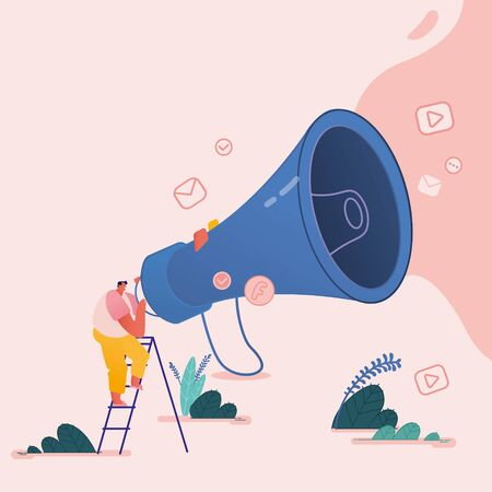 Man with Megaphone, People characters for Refer a friend Concept. Referral marketing loyalty program, promotion method for landing page, template, ui, web, poster. Vector illustration