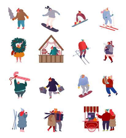 Set of People Characters Holiday scenes on Christmas market, Winter sports, Snowboarding, Skiing, Holiday Outdoor Activities. Man and Woman shopping gifts. Vector illustration   Illusztráció