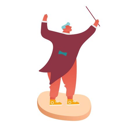 Conductor of Classic Instrumental Symphony Orchestra Concert. People Musician Character Directing Music with Instruments Performing on Stage. Cartoon Flat Vector Illustration Иллюстрация