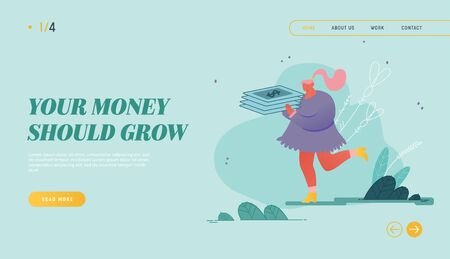 Woman with Money Cash Website Landing Page. People Character Concept of Moneybox, Safe Deposit, Banking Çizim
