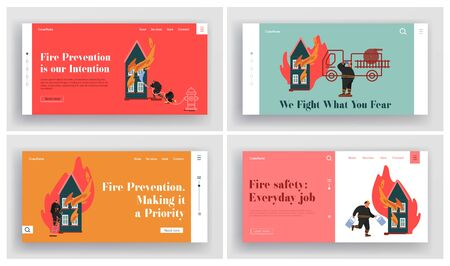 Set of Fire rescue Department Landing Page. Fireman Fighter Team with Equipment, Truck, Hydrant, Extinguisher