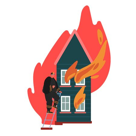 Firefighter Climbing the Ladder to Burning House. Fireman in Uniform, Fire Department Rescuer Concept of Equipment Set, Hydrant, Extinguisher. Cartoon Vector Illustration