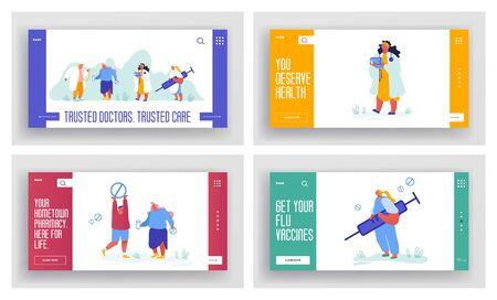Set of Medicine Banners, Pharmacy Web Site Concept. Virus Flu Disease Web Page, Template of Health Insurance, Care Plan. Landing Page with Doctors, Online Consultation Clinic. Vector Illustration