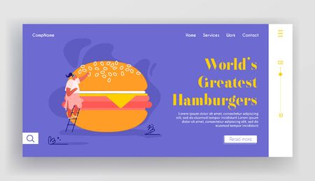 Woman Character with Fastfood Website. People Eating Street Fast Food, Huge Burger Online Meal Order Website