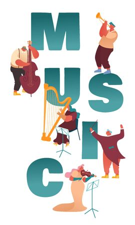 Classic Instrumental Symphony Orchestra Concert. People Musicians Characters Playing Music with Instruments Performing on Stage with Violin, Cello, Trumpet, Harp Performance. Flat Vector Illustration