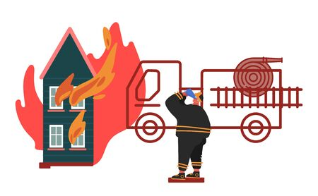 Firefighter Coordinating the Rescuing of Burning House. Fireman in Uniform, Fire Department Rescuer Concept of Equipment Set, Hydrant, Fire truck, Extinguisher. Cartoon Vector Illustration Illustration