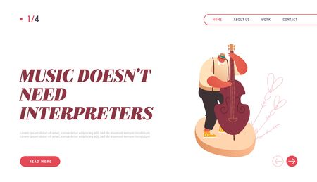Landing Page of Symphony Orchestra Playing Classical Music Concert, Conductor and Musicians with Instruments