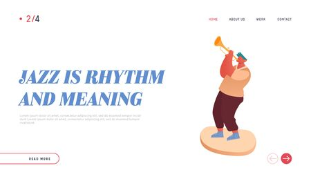 Professional Musician Playing Trumpet Instrument, Improvisation. Jazz Concert Landing Page. People Character Player, Artist Performance on Stage Website, Web page. Vector Illustration