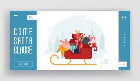 Merry Christmas Greetings Time Website Landing Page. Happy Man in Santa Claus Hat Sitting in Sledge with Gifts and Sweets Riding on Snowy Background Web Page Banner. Cartoon Flat Vector Illustration Archivio Fotografico - 133681258