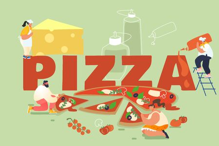 People Baking and Eating Huge Pizza. Male and Female Characters Cut with Knife, Put Ketchup and Cheese, Take Piece of Tasty Italian Food. Fast Food, Cafe, Bistro Visitors. Cartoon Vector Illustration