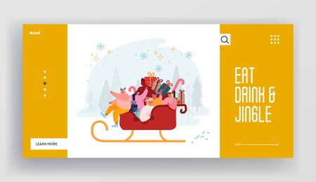 Xmas Celebration and Winter Holidays Website Landing Page. Happy Characters Riding Santa Claus Sled Full of Gifts. Santa Helpers Festive Greetings. Web Page Banner. Cartoon Flat Vector Illustration Archivio Fotografico - 133681266