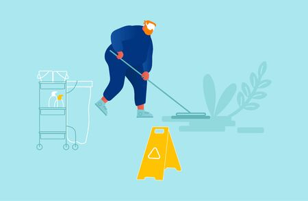 Professional Cleaning Company Service Concept. Male Character Sweeping and Mopping Floor with Mop in Public Place with Warning Sign on Wet Floor. Man Washing Room. Cartoon Flat Vector Illustration Archivio Fotografico - 133681267