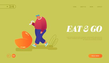 Chinese Traditional Food, Prediction for Future Website Landing Page. Overweight Man Stand at Huge Fortune Cookie Reading Forecasting on Piece of Paper Page Banner. Cartoon Flat Vector Illustration Archivio Fotografico - 133681268