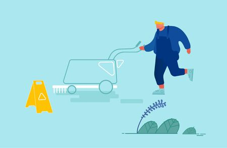 Cleaning Company Staff Male Character in Uniform Working with Equipment Washing Hall. Professional Janitor Worker Vacuuming and Polishing Floor in Office or Lobby. Cartoon Flat Vector Illustration Archivio Fotografico - 133681269
