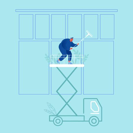 Professional Industrial Deep Cleaning Company Worker with Equipment, Vehicle Service. Man in Uniform Cleaning Window Work with Elevator Platform Car and Climbing Gear. Cartoon Flat Vector Illustration