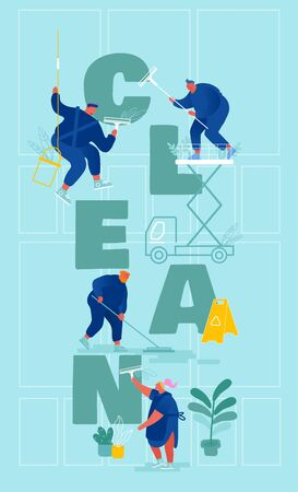 Characters in Uniform with Clean Equipment Working. Professional Cleaners Service Concept. Workers Mopping Sweeping Floor Rubbing Window Poster Banner, Flyer, Brochure Cartoon Flat Vector Illustration Illustration
