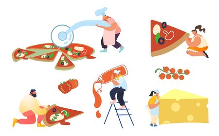 Set of People Baking and Eating Huge Pizza. Male and Female Characters Cut with Knife, Put Ketchup and Cheese, Take Piece of Tasty Italian Food. Fast Food, Cafe, Bistro Visitors. Vector Illustration