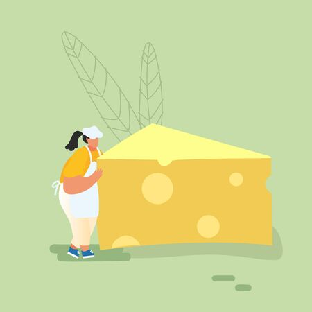 Woman Carry Huge Piece of Cheese, Diet, Healthy Nutrition, Fastfood Outdoor Street Party, City Fest Event, Female Person with Food. Cartoon Flat Vector Illustration, Banner Archivio Fotografico - 133681273