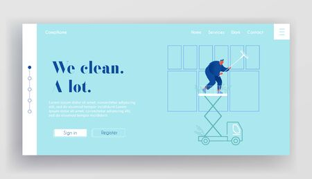 Professional Industrial Deep Cleaning Company Website Landing Page. Man Worker in Blue Uniform Cleaning Window Standing on Car Elevator Platform Web Page Banner. Cartoon Flat Vector Illustration