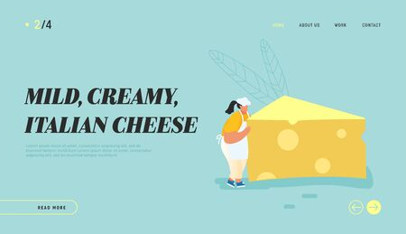 Woman Carry Huge Piece of Cheese, Diet, Healthy Nutrition, Fastfood Outdoor Street Party, City Fest Event, Pizza Festival Website Landing Page, Web Page. Cartoon Flat Vector Illustration, Banner Archivio Fotografico - 133681274