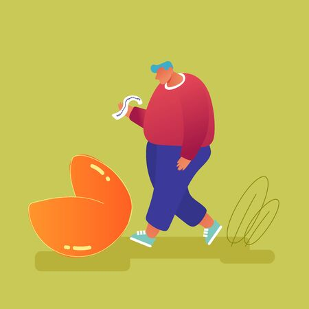 Overweight Man Stand at Huge Fortune Cookie Reading Forecasting on Piece of Paper. Surprised Message inside of Bake. Chinese Traditional Food, Prediction for Future Cartoon Flat Vector Illustration Ilustración de vector