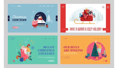 Merry Christmas and Happy New Year Website Landing Page Set. Winter Season Holidays Traditions. Santa Claus and Decorated Fir Tree, Xmas Celebration Web Page Banner. Cartoon Flat Vector Illustration Illustration