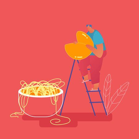 Tiny Abdominous Man Standing on Ladder Holding Huge Fortune Cookie in Hands near Bowl with Noodles. Chinese Food, People Eating Asian Traditional Cuisine Concept. Cartoon Flat Vector Illustration Archivio Fotografico - 133681278